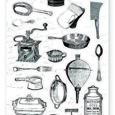 vintage victorian kitchen cooking pot kettle dish baking sticker sheet