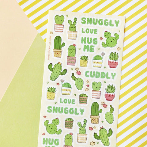 cactus house plant planter sticker sheet