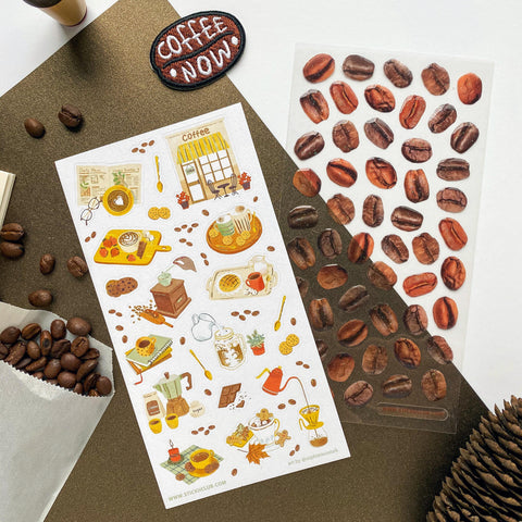 epoxy coffee bean glitter sticker sheet