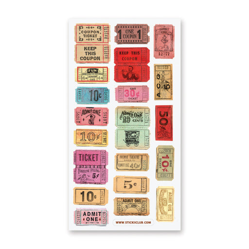 carnival tickets stub admit one sticker sheet