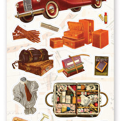 automobile auto car vintage travel trip luggage sticker sheet