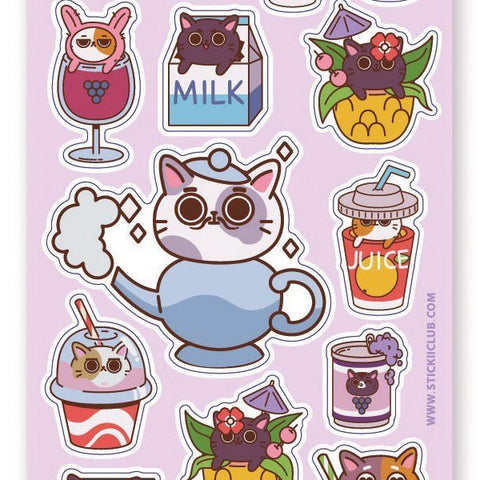 cat kitty drink sticker sheet