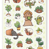 cats potted plants sticker sheet