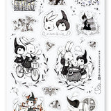 bunnies witch moon sticker sheet