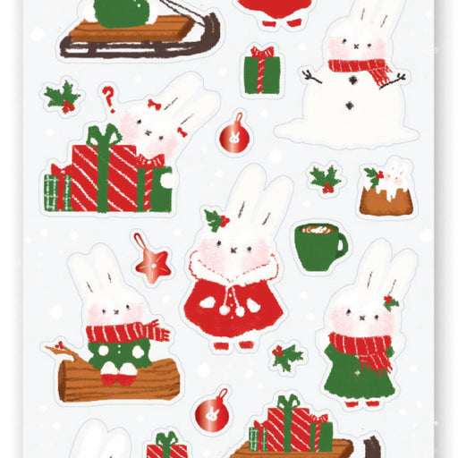 christmas bunny sleigh gifts presents yule sticker sheet