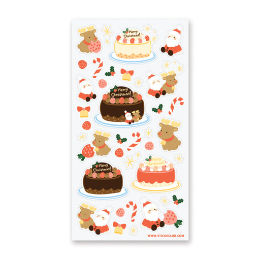 christmas cake santa reindeer candy cane holiday celebrate sticker sheet