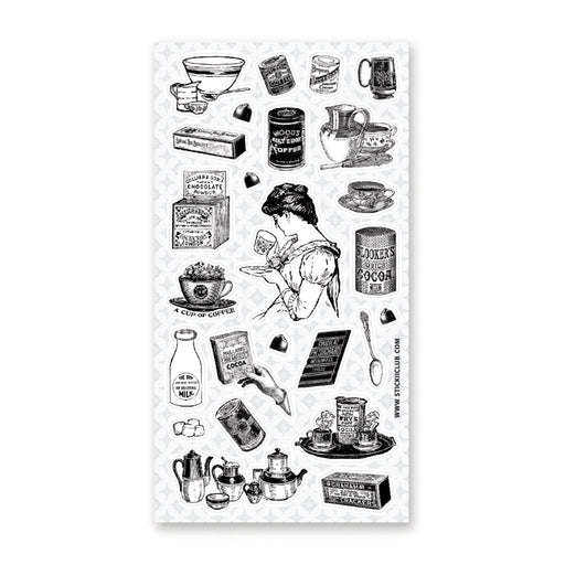 victorian woman kitchen cooking ingredients pantry sticker sheet