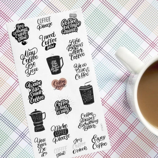 coffee latte espresso sticker sheet