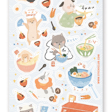 Shiba Inu dog ramen house japan food noodles sticker sheet