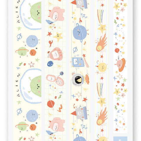 space alien saturn stars planet washi strips