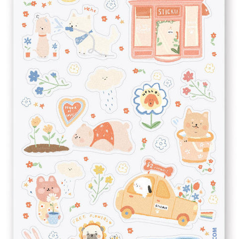florist shop plants garden sticker sheet