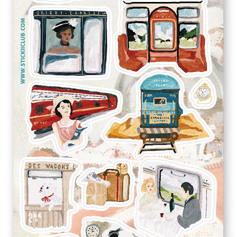 train travel trip luggage vintage sticker sheet