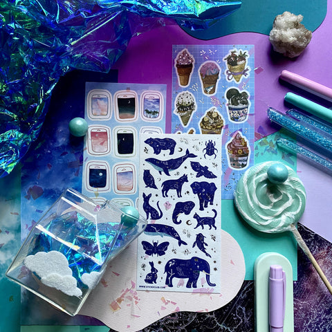 constellation animals stars sky sticker sheet