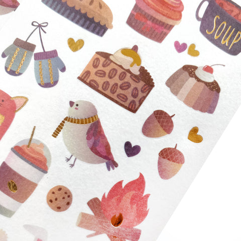 winter fall drinks hat sticker sheet