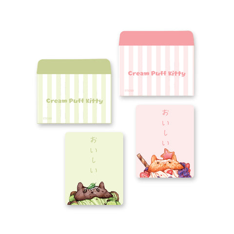cat cream puff dessert letterset note