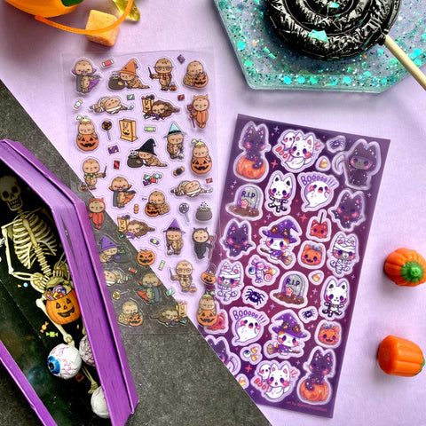 costume cat halloween kitties pumpkin sticker sheet