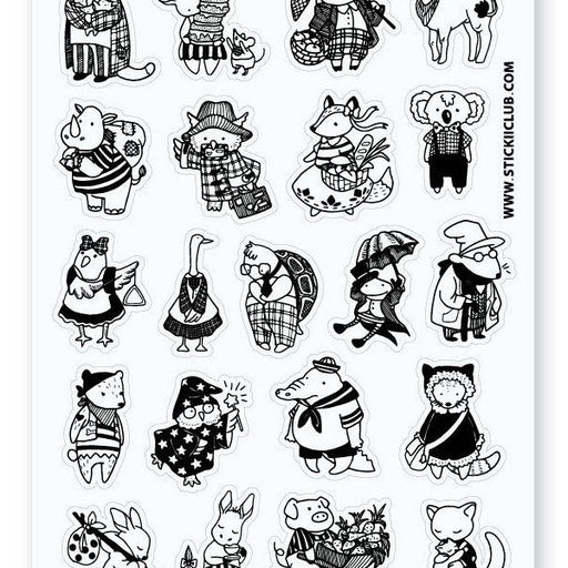 black and white animal costume sticker sheet