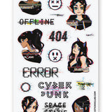 cyber glitch tech digital girl sticker sheet
