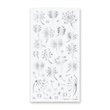 silver dandelion flower sticker sheet