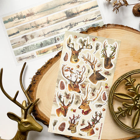 winter reindeer deer antler snow sticker sheet
