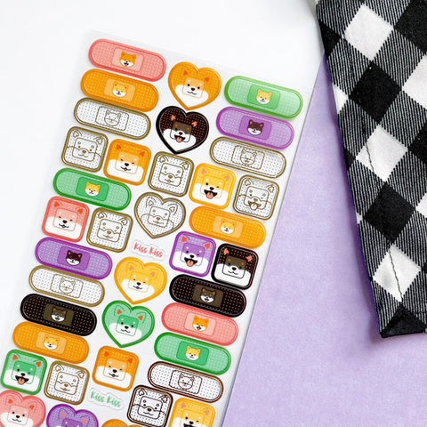 shiba inu dog bandaid bandage sticker sheet