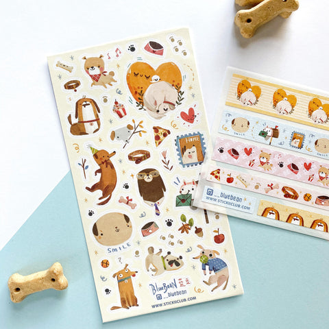 dog bowl collar mail washi sticker sheet