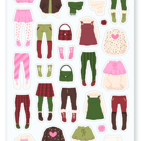 dress up outfits girls sticker sheet