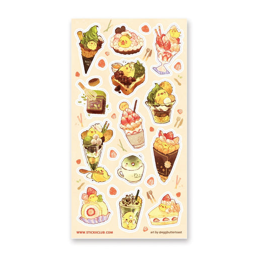 chick bird dessert ice cream drink sticker sheet