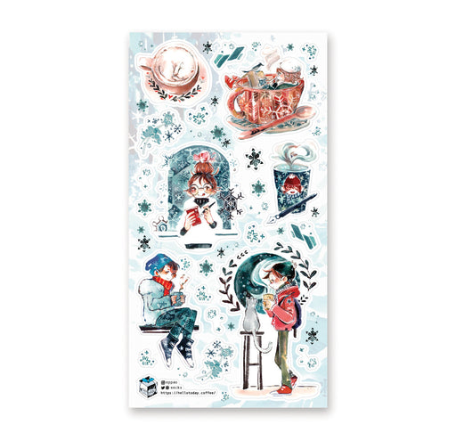 coffee cup snow winter sticker sheet