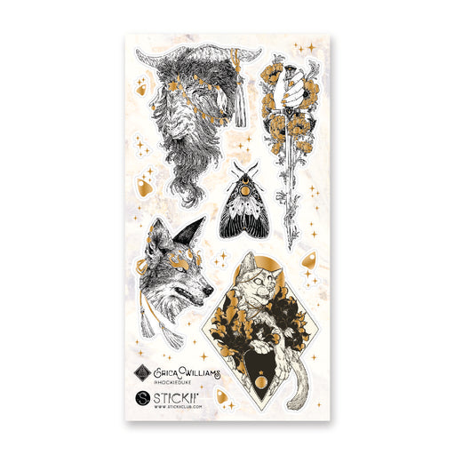 wolf cat moth gold sticker sheet