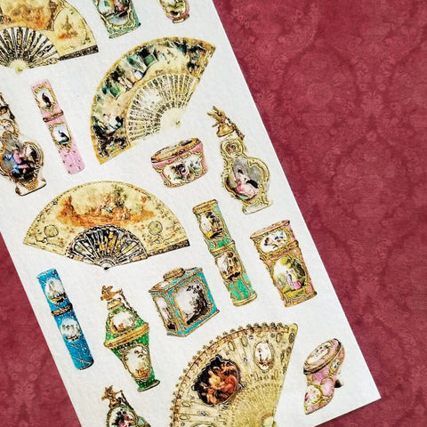 victorian fans elegant sticker sheet