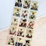 victorian fashion mask stamps sticker sheet