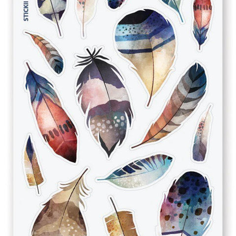 feathers birds sticker sheets