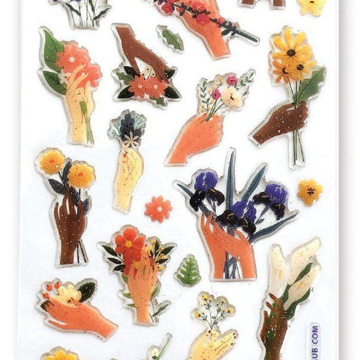 hands wild flowers glitter epoxy sticker sheet