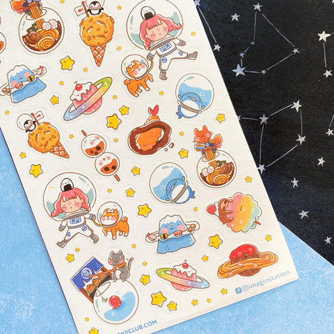 space astronaut food sticker sheet