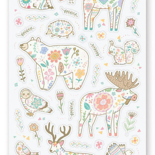 wildlife animals floral print sticker sheet