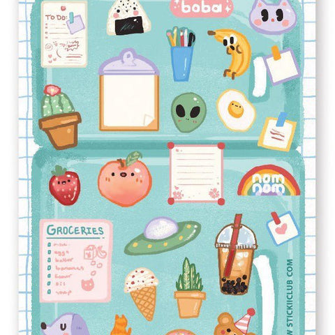 fridge magnet grocery list sticker sheet