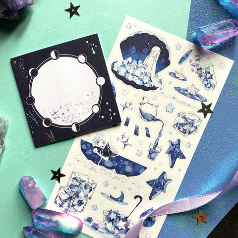 moon phase stars notepad
