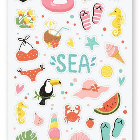 sea beach summer sticker sheet
