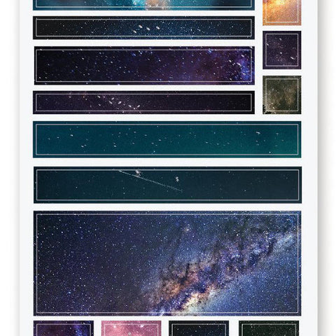 galaxy space washi sticker sheet