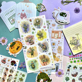 plants nature flowers cactus garden sticker sheet pack