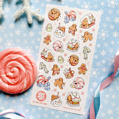gingerbread house cookie christmas holiday sticker sheet