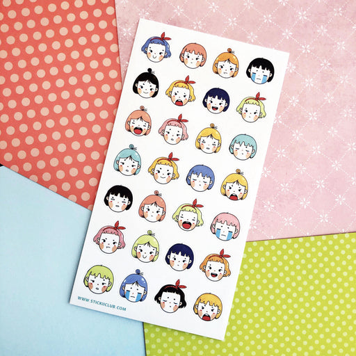 anime girl emotion expression sticker sheet
