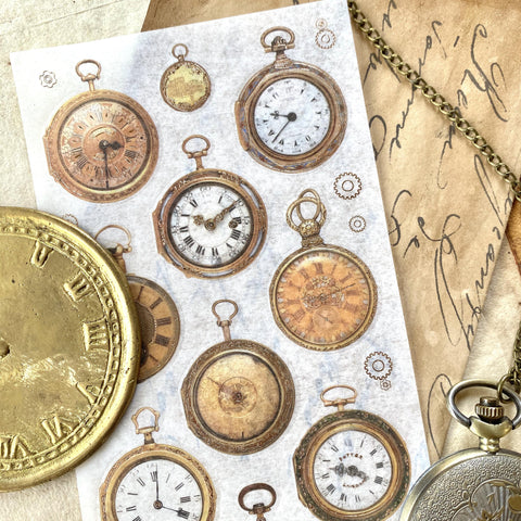 vintage victorian gold pocket watch sticker sheet