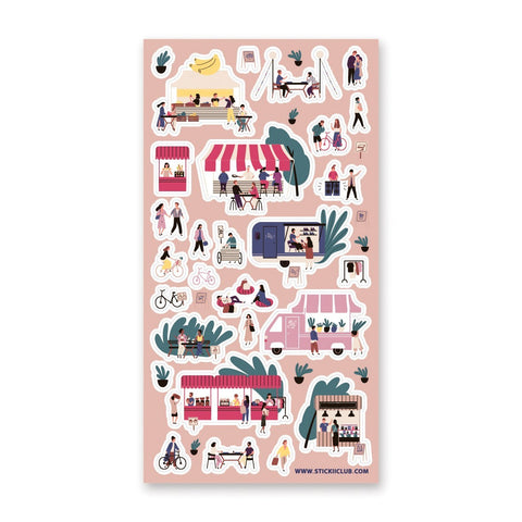 shopping going out outdoor farmers market bike date sticker sheet