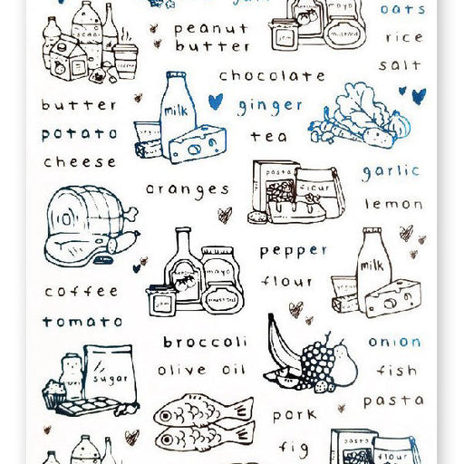 groceries list market produce sticker sheet