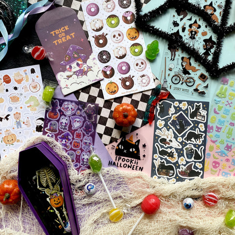 trick or treat mini envelope cat kitty witch spooky halloween