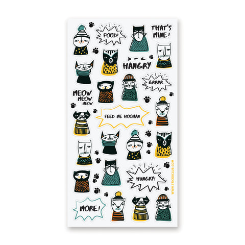 hungry cats clothes sticker sheet