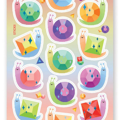 gem jewel snail shell sticker sheet