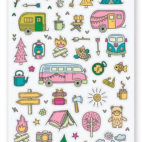 camping trip sticker sheet